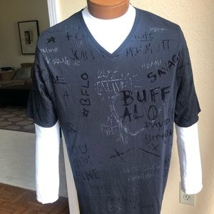 Buffalo David Bitton V-Neck  2 Zipper Graffiti Tee